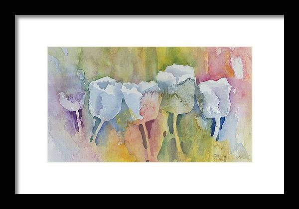 Impressionistic Framed Print featuring the painting White Tulips by Jerry Kelley