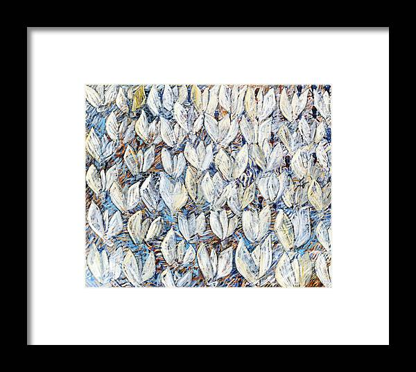 Abstract White Tulips Waving Sails Composition Blue Framed Print featuring the painting White Tulips by Joan De Bot