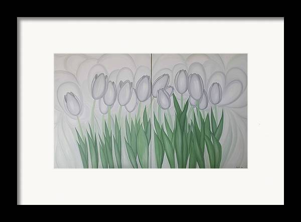 Marinella Owens Framed Print featuring the painting White Tulips by Marinella Owens