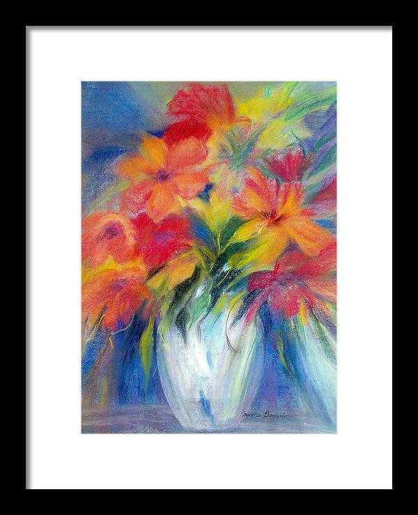Flowers Framed Print featuring the painting White Vase by Maritza Bermudez