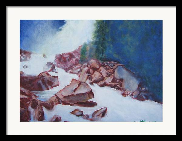 Landscape Framed Print featuring the painting White Water And Solid Rock by Howard Stroman