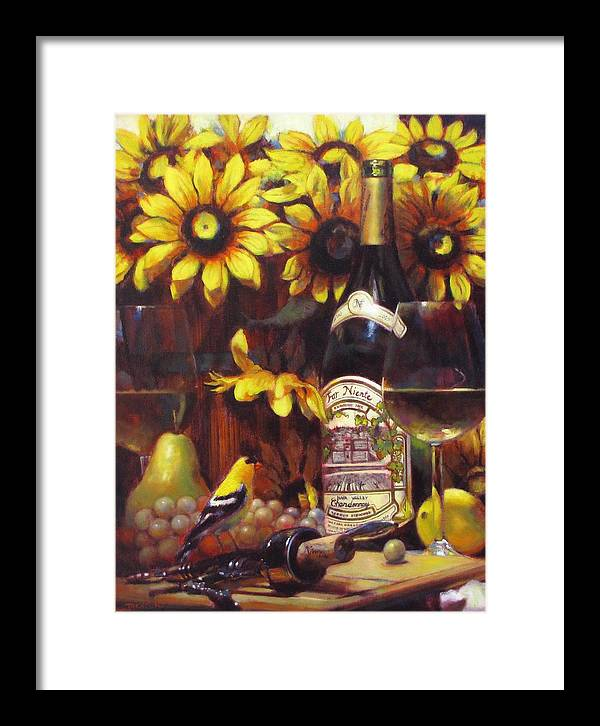 Wine Paintings Framed Print featuring the painting White Wine And Gold Finch With Sun Flower by Takayuki Harada