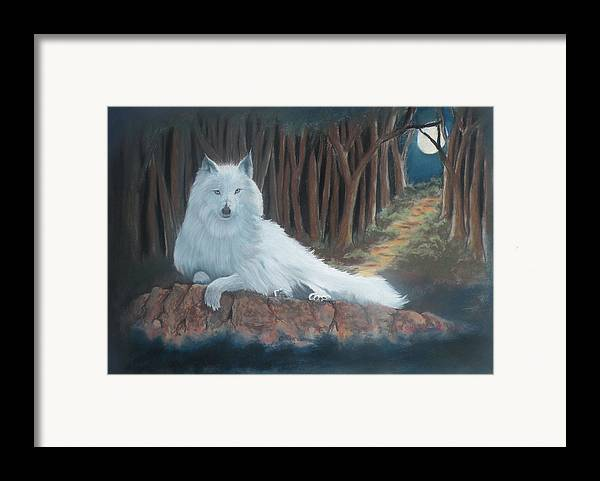 Wildlife Framed Print featuring the pastel White Wolf by Charles Hubbard
