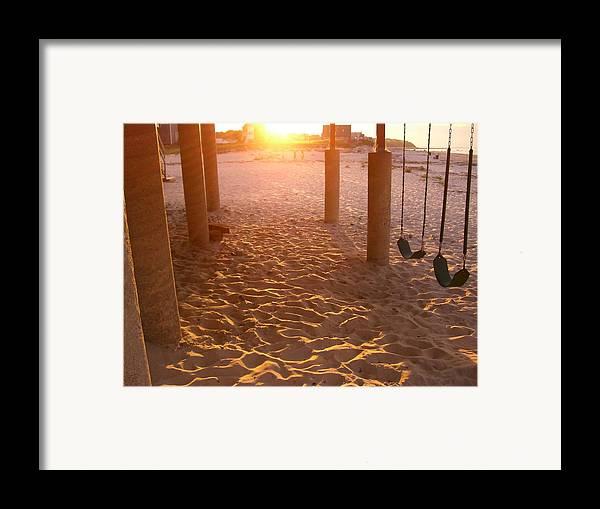 Swings Framed Print featuring the photograph Whitehorse Beach - Swings by Nancy Ferrier