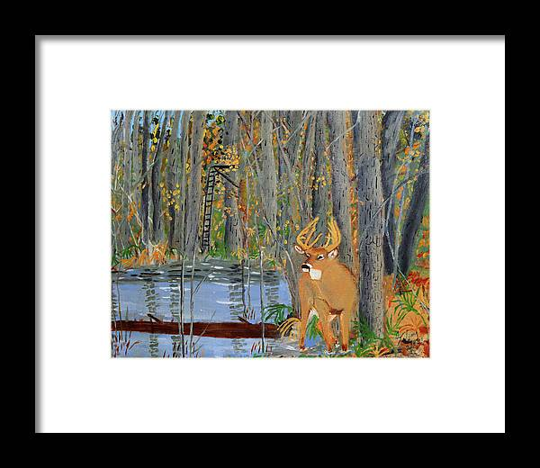 Whitetail Framed Print featuring the painting Whitetail Deer In Swamp by Swabby Soileau