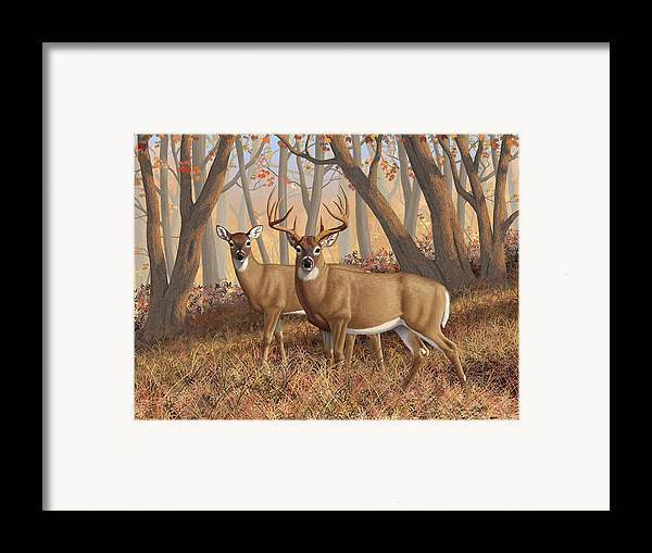 Deers Framed Print featuring the digital art Whitetail Deer Painting - Fall Flame by Crista Forest