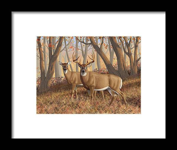 Deers Framed Print featuring the painting Whitetail Deer Painting - Fall Flame by Crista Forest