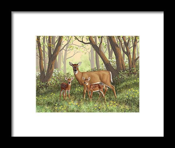 Whitetail Deer Framed Print featuring the painting Whitetail Doe And Fawns - Mom's Little Spring Blossoms by Crista Forest