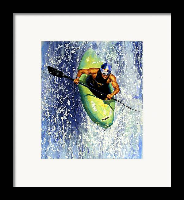 Kayaker Framed Print featuring the painting Whitewater Kayaker by Lynee Sapere