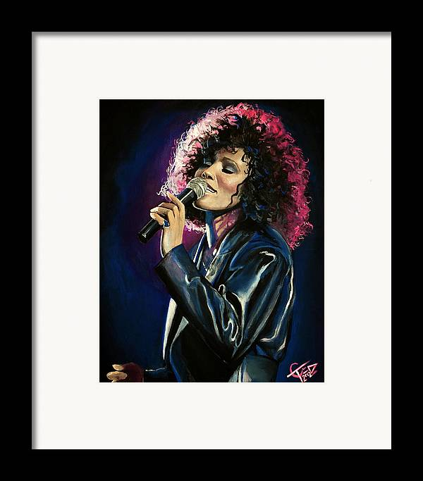 Whitney Houston Framed Print featuring the painting Whitney Houston by Tom Carlton