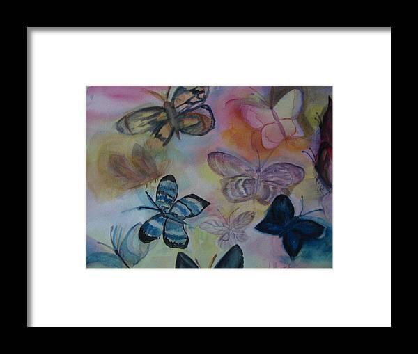 Butterfly Framed Print featuring the painting Who Is Prettiest by Marian Hebert