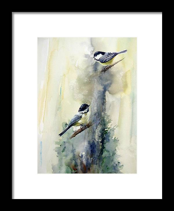 Chickadees Framed Print featuring the print Who Says by Lynne Parker