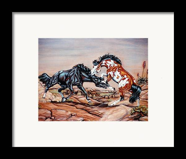 Leather Framed Print featuring the painting Who The Boss by Lilly King