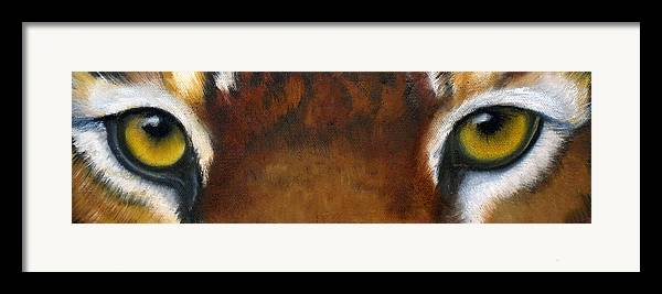 Tiger Eyes Framed Print featuring the painting Whos Watching Who  Tiger by Darlene Green
