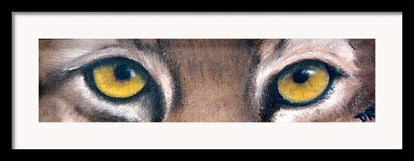 Bobcat Eyes Framed Print featuring the painting Whos Watching Who Bobcat by Darlene Green