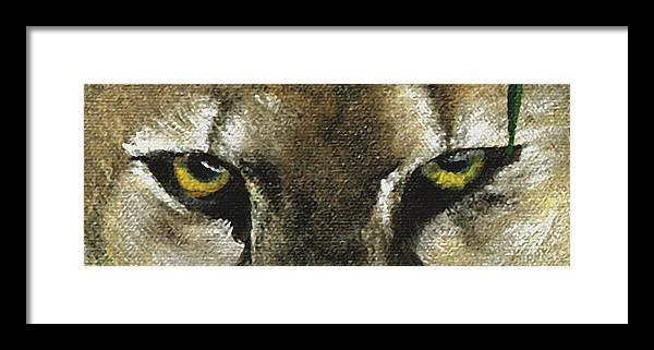 Panther Eyes Framed Print featuring the painting Whos Watching Who Florida Panther by Darlene Green