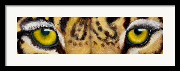Leopard Eyes Framed Print featuring the painting Whos Watching Who Jaguar by Darlene Green