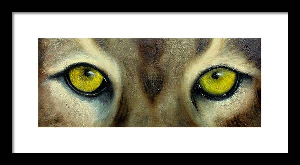 Eyes Framed Print featuring the painting Who's watching who...Florida Panther by Darlene Green
