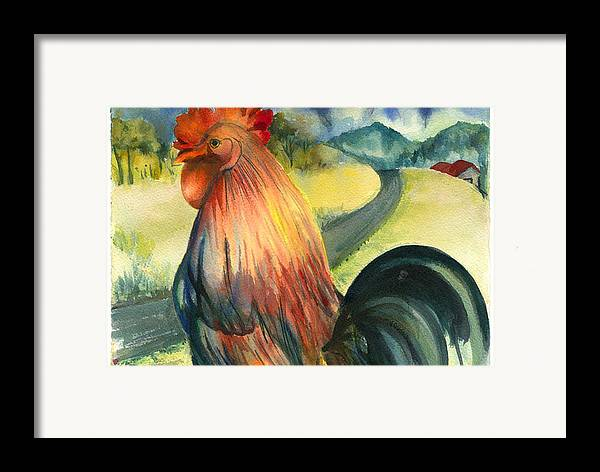 Beatiful Colos Framed Print featuring the painting Why Did The Rooster Cross The Road by Ileana Carreno