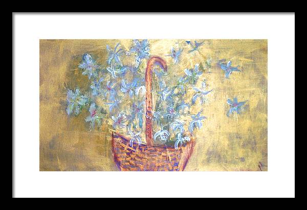 Floral Framed Print featuring the painting Wicker Basket Of Garden Flowers by Michela Akers