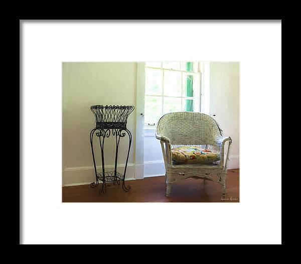 Wicker Framed Print featuring the photograph Wicker Chair And Planter by Louise Reeves