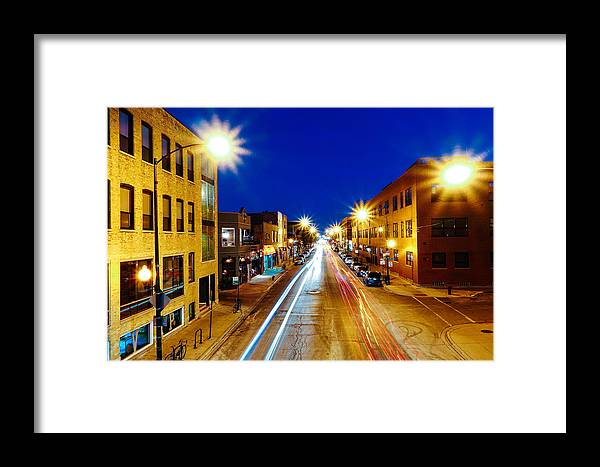 Light Framed Print featuring the photograph Wicker Park Light Trails by Misael Nevarez