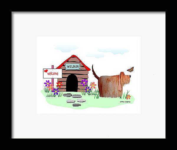 Dog Framed Print featuring the digital art Wilbur And The Butterfly by Arline Wagner