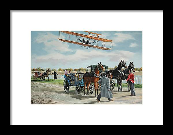 Aircraft Art Framed Print featuring the painting Wilbur Wright In France by Kenneth Young