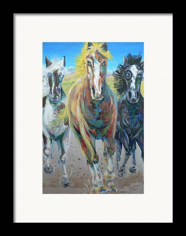 Three Framed Print featuring the painting Wild And Free by Dan Bozich