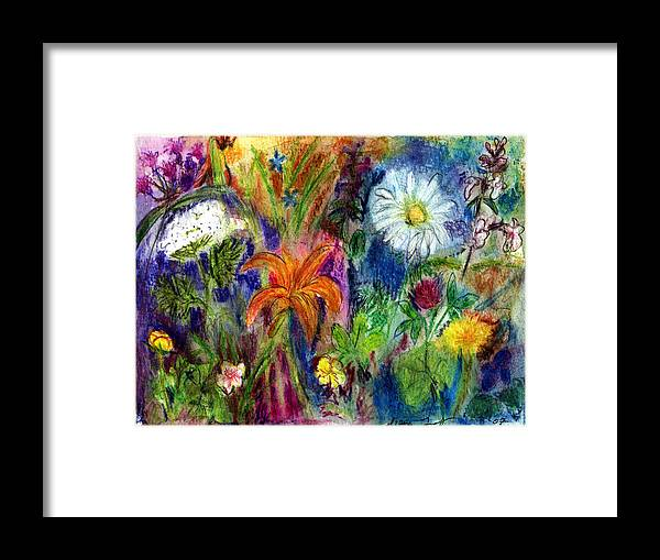 Wildflower Framed Print featuring the painting Wild Backyard Meadow by Diana Ludwig