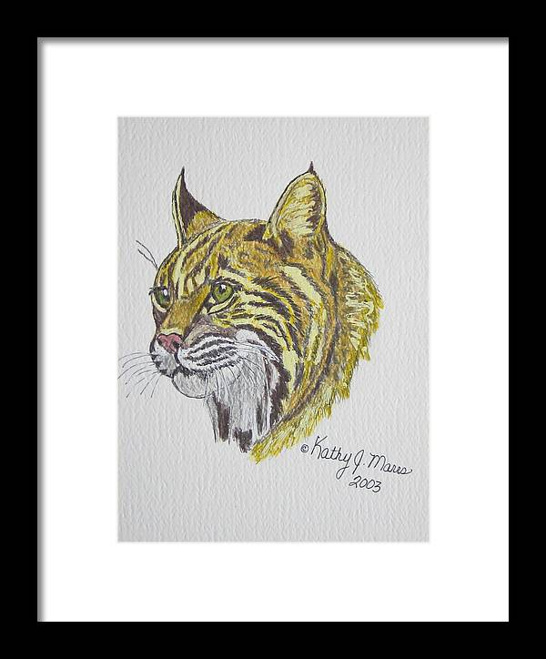 Wild Bobcat Framed Print featuring the painting Wild Bobcat by Kathy Marrs Chandler