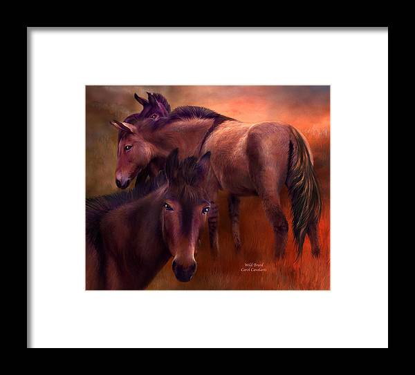 Horse Framed Print featuring the mixed media Wild Breed by Carol Cavalaris