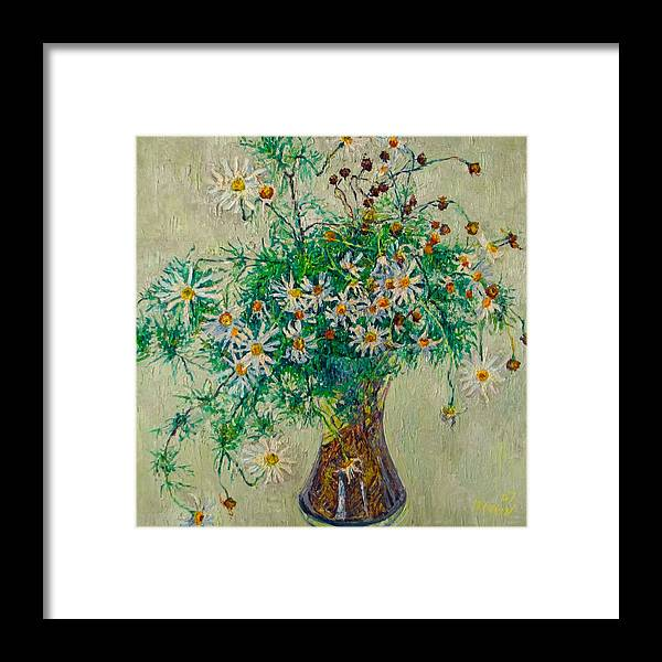 Flower Framed Print featuring the painting Wild Camomile by Vitali Komarov