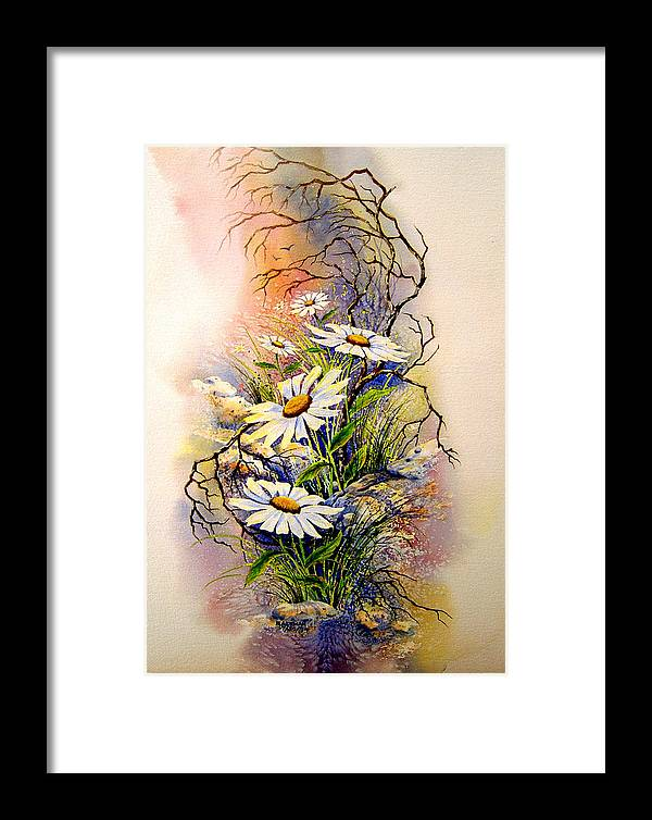 Floral Framed Print featuring the painting Wild Daisies by Brooke Lyman