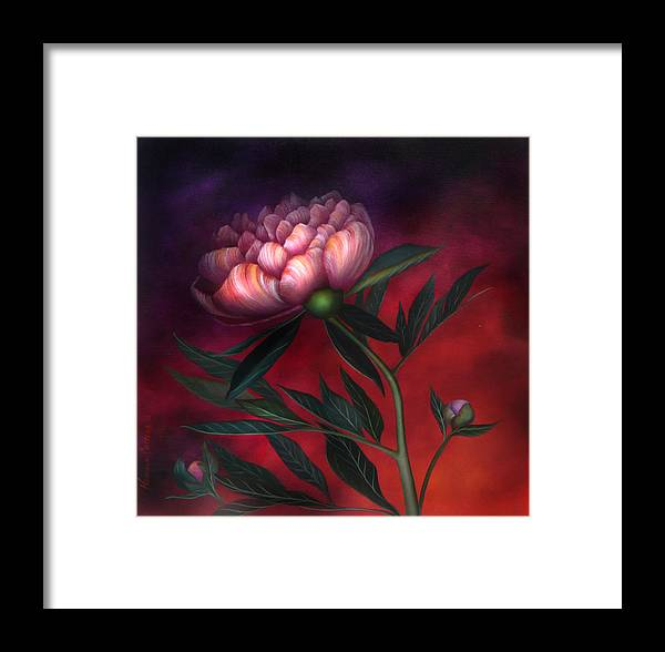 Peony Framed Print featuring the painting Wild Fire Peony by Neadeen Masters