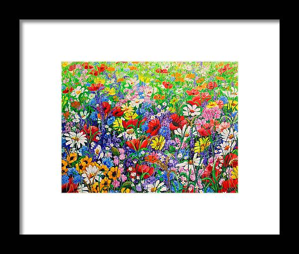 Wild Flowers Framed Print featuring the painting Wild Flower Meadow by Karin Dawn Kelshall- Best