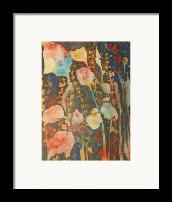 Flower Abstract Framed Print featuring the painting wild flowers in the wind I by Henny Dagenais