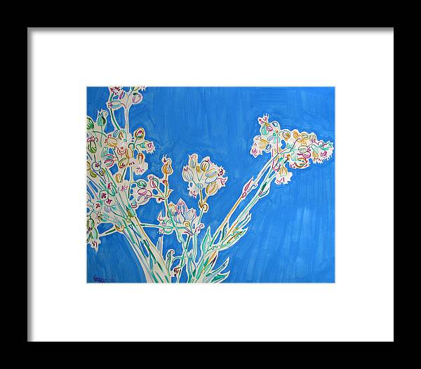 Wild Framed Print featuring the painting Wild Flowers On Blue by Vitali Komarov