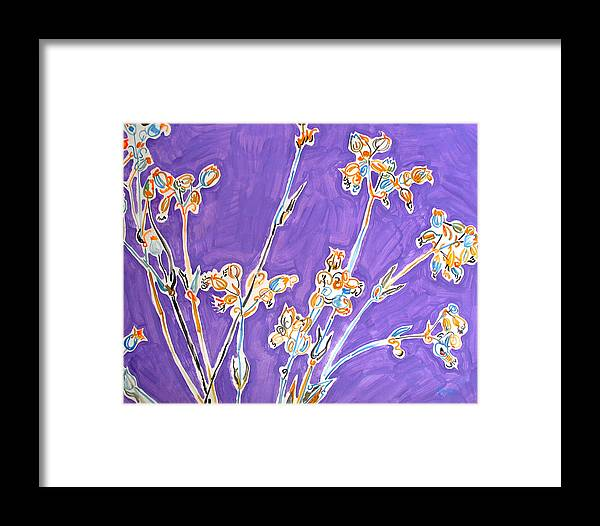 Wild Framed Print featuring the painting Wild Flowers On Lilac by Vitali Komarov