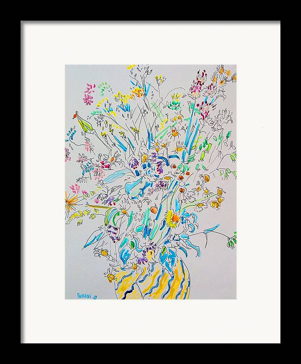 Wild Framed Print featuring the painting Wild Flowers by Vitali Komarov