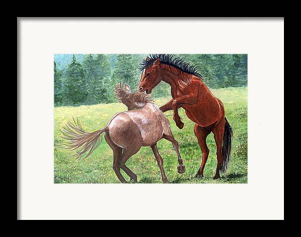 Wild Framed Print featuring the drawing Wild Horses by Lorraine Foster