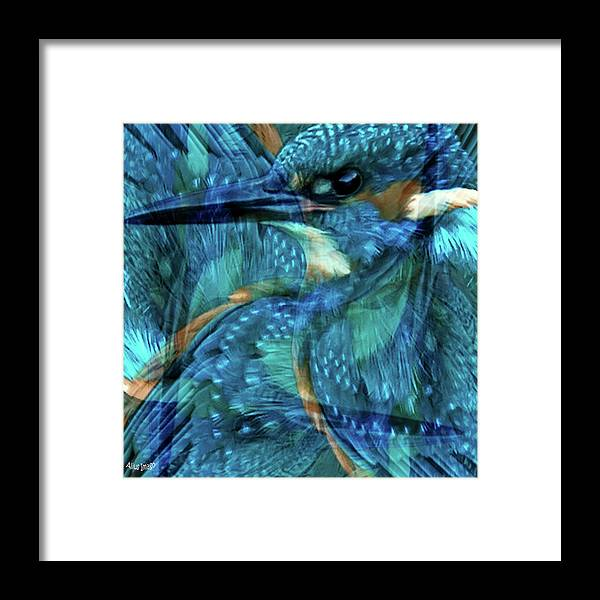 Kingfisher Framed Print featuring the digital art Wild Kingfisher by Alius Imago