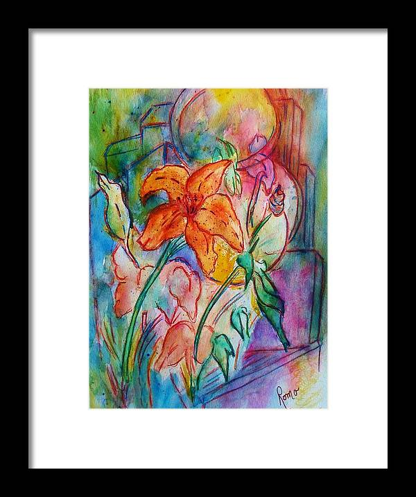 Floral Framed Print featuring the painting Wild Lily by Robin Monroe