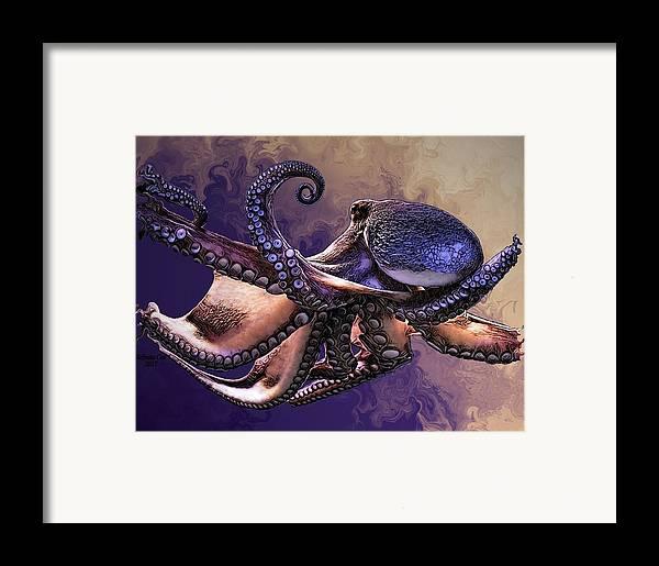 Digital Art Framed Print featuring the digital art Wild Octopus by Artful Oasis