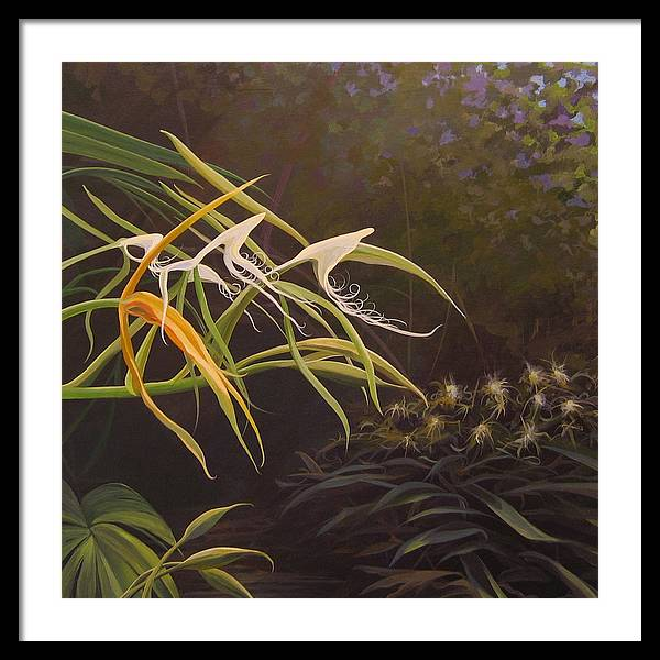 Caribbean Framed Print featuring the painting Wild Orchids by Hunter Jay