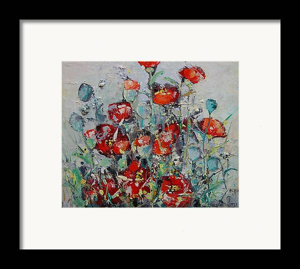 Flowers Framed Print featuring the painting Wild Poppies by Sari Haapaniemi
