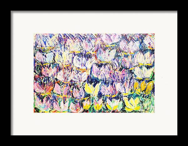 Abstract Flowers Tulips White Pink Yellow Green Blue Framed Print featuring the painting Wild Tulips by Joan De Bot