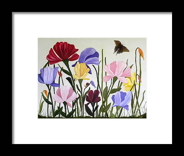 Tulips Framed Print featuring the painting Wild Tulips by Terri Mills