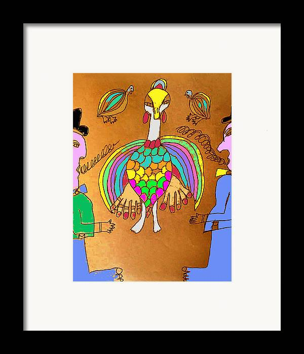 Framed Print featuring the mixed media Wild Turkey Hands Dance by Betty Roberts