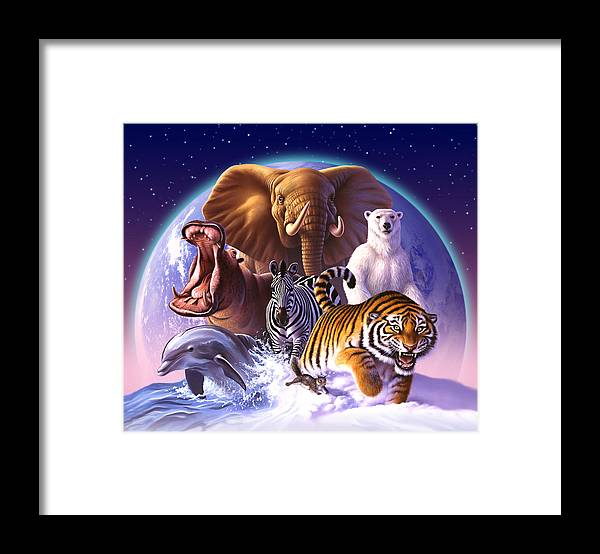 Mammals Framed Print featuring the painting Wild World by Jerry LoFaro
